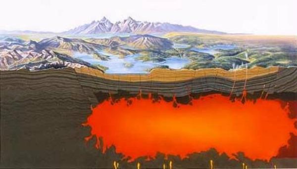 The caldera beneath the Yellowstone National Park. (National Park Service)