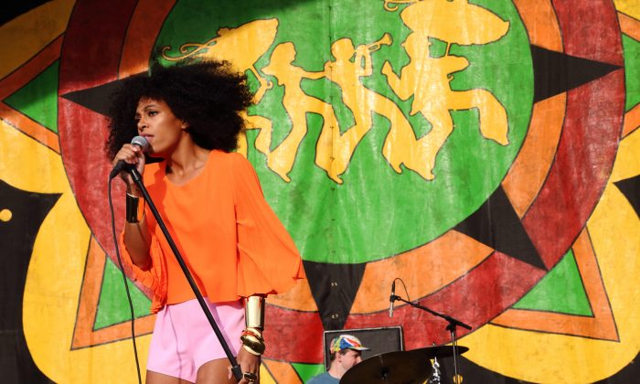 Solange Knowles performs at the 2014 New Orleans Jazz & Heritage Festival at Fair Grounds Race Course on Thursday, May 1, 2014, in New Orleans. (Photo by John Davisson/Invision/AP)
