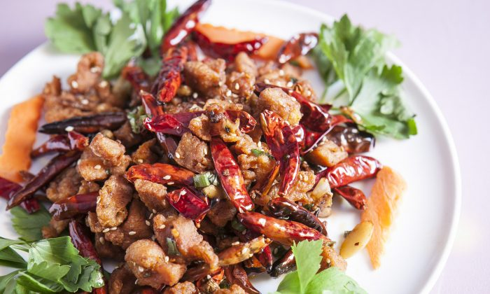 Chong Qing spicy dry chicken. (Samira Bouaou/Epoch Times)