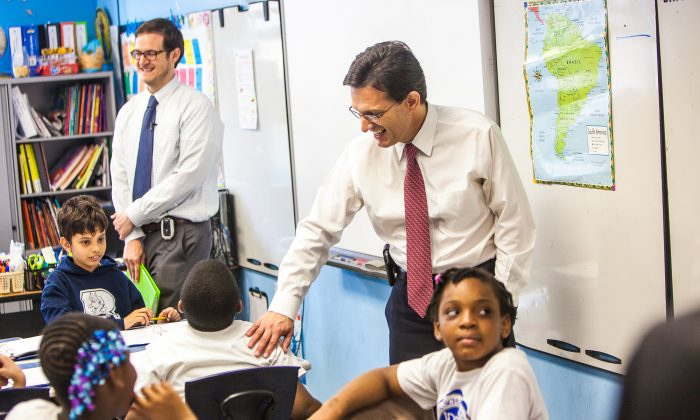 House Majority Leader Eric Cantor visits a classroom at the Bronx Charter School for Excellence in the Bronx, New York, on May 12, 2014. (Petr Svab/Epoch Times)
