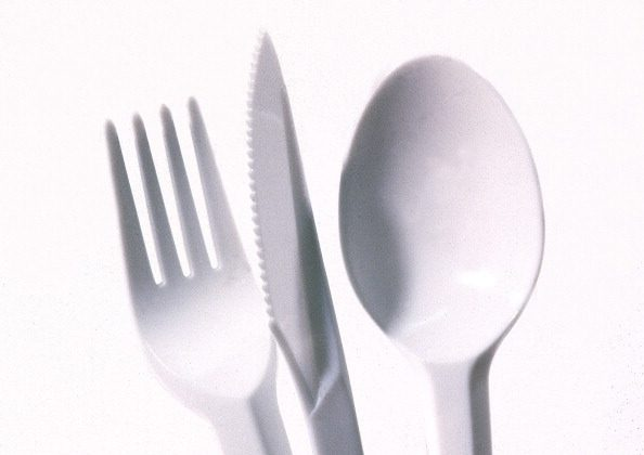 Cutlery, Plastic Knife Spoon Fork. (Photo by Jeff Overs/BBC News & Current Affairs via Getty Images)