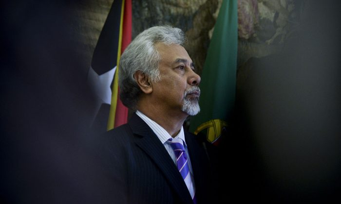 East Timor Prime Minister Kay Rala Xanana Gusmao stands during a press conference after a meeting at Sao Bento Palace in Lisbon on February 5, 2014. (Patricia de Mello Moreira/AFP/Getty Images)