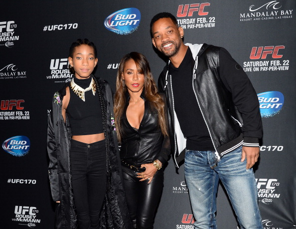 Singer/actress Willow Smith, actress/producer Jada Pinkett Smith and actor Will Smith  (Photo by Ethan Miller/Getty Images)
