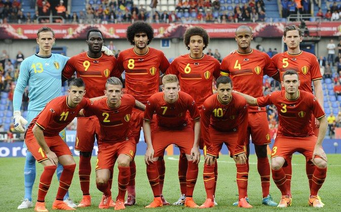 Belgium's national football team players pose for a group photo before the friendly football match between Belgium and Luxembourg at the Fenix stadium in Genk, on May 26, 2014. (JOHN THYS/AFP/Getty Images)