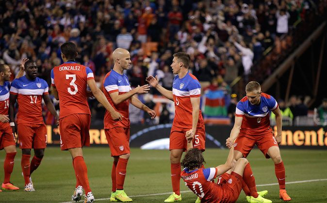 Mix Diskerud #10 of the United States is congratulated by teammates after he scored a goal against Azerbaijan during their match at Candlestick Park on May 27, 2014 in San Francisco, California. (Photo by Ezra Shaw/Getty Images)