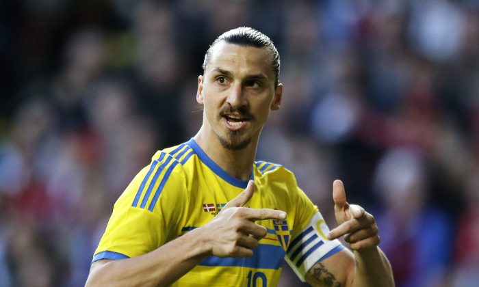 Sweden's Zlatan Ibrahimovic, gestures during the friendly soccer match against Denmark in Copenhagen on Wednesday, May 28, 2014. (AP Photo/POLFOTO, Jens Dresling)  DENMARK OUT