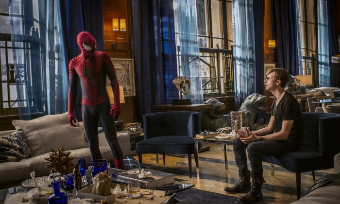 """This image released by Sony Pictures shows Andrew Garfield and Dane DeHaan in """"The Amazing Spider-Man 2."""" (AP Photo/Columbia Pictures - Sony Pictures, Niko Tavernise)"""