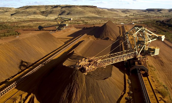An undated photograph released on Sept. 4, 2009, by Rio Tinto shows high grade iron ore in Western Australia's Pilbara region, destined for China. (Christian Sprogoe/AFP/Getty Images)