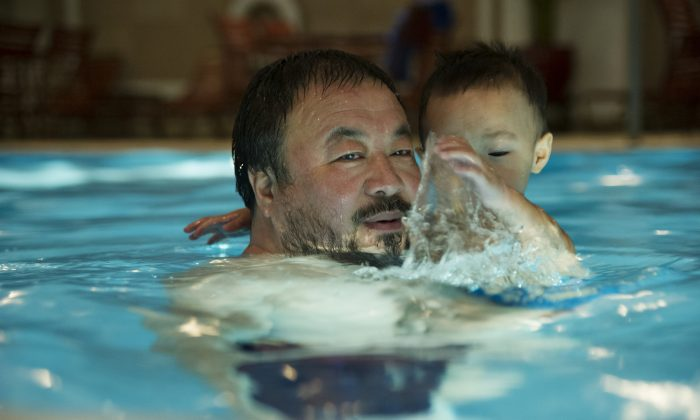 "Ai Weiwei and son Ai Lao in the documentary ""Ai Weiwei: The Fake Case."" (Courtesy of International Film Circuit)"