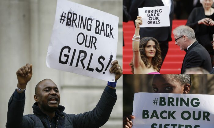 Right: A demonstrator holds a banner, during a protest in London, UK, about the kidnapping of girls in Nigeria. (AP Photo/Kirsty Wigglesworth) Top left: Actress Salma Hayek holds a similar sign. (AP Photo/Thibault Camus) Bottom left: A girl from a Soweto, South Africa calls for the release of the Nigerian schoolgirls. (AP Photo/Denis Farrell)