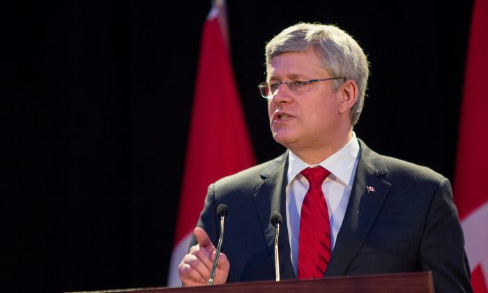 Canadian Prime Minister Stephen Harper speaks during a fundraiser event for the Canada's Memorial to Victims of Communism project at the Toronto Congress Centre on May 30, 2014. (Evan Ning/Epoch Times)