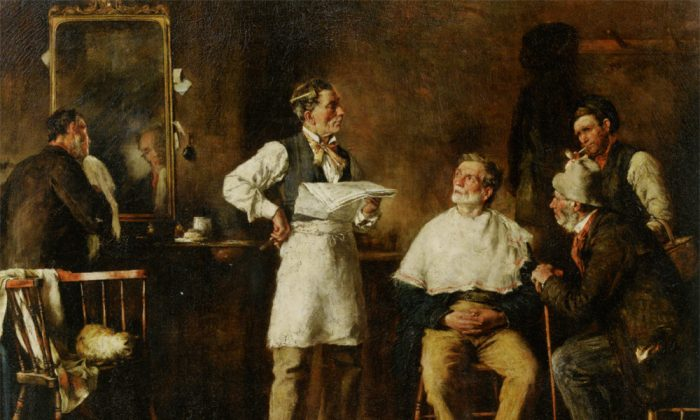 """""""The Barbers Shop,"""" 1875, by George Elgar Hicks (1824–1914). (Courtesy of Art Renewal Center)"""
