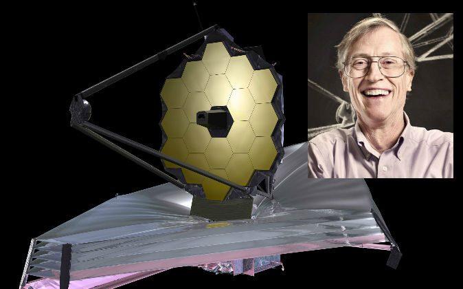 Left: An artist's illustration of the James Webb Space Telescope (JWST). (NASA) Right: John Mather, senior project scientist on the JWST. (Chris Gunn/NASA)