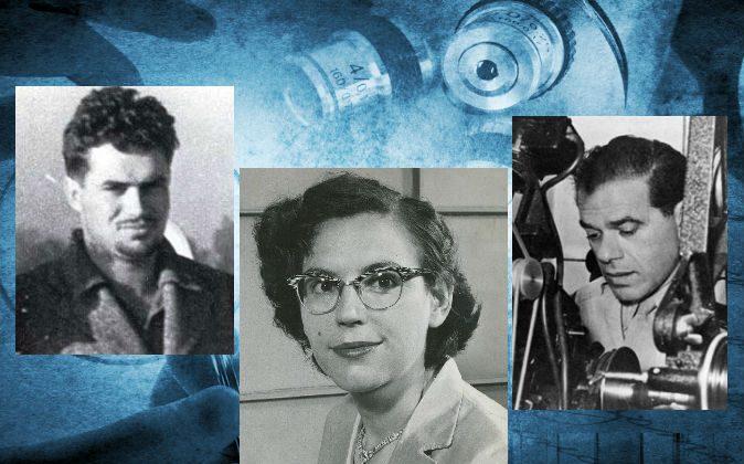 "Left: John Whiteside ""Jack"" Parsons. (NASA/JPL) Center: Mary Sherman Morgan (Courtesy of George Morgan) Right: Frank Capra. (Wikimedia Commons) Background: (Shutterstock*)"
