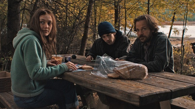 "(L-R) Dakota Fanning, Jesse Eisenberg, and Peter Sarsgaard play a trio of eco-terrorists in ""Night Moves."" (Courtesy of Cinedigm/ Tipping Point Productions)"