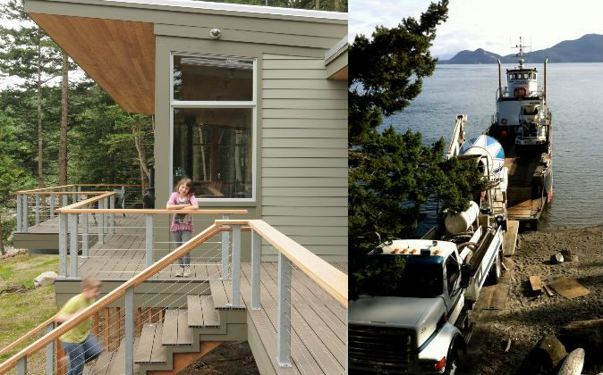 """Left: Two of Phil and Erin Lowe's children—their daughter, who goes by """"Bean,"""" and one of their triplets, Aidan—enjoying cabin life on Obstruction Island. (Jeff Hobson) Right: A truck and barge pour concrete as part of the construction of the Lowe home on the remote island. (Erin Lowe)"""
