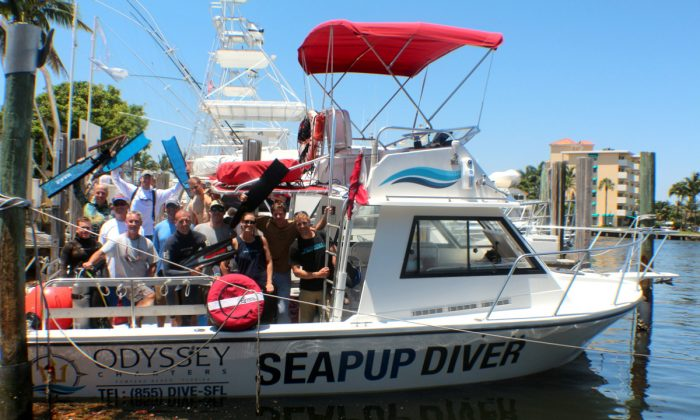 Pompano Dive Center's SEA PUP dive boat returns to dock with Martin Stepanek and his group of free divers. (Myriam Moran copyright 2014)