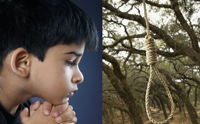 Left: A file photo of a boy thinking. (Shutterstock*) Right: A noose. (Thinkstock)