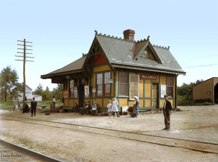 Waldwick Train Station, ca. 1903, in Waldwick, N.J., colorized by Dana Keller.