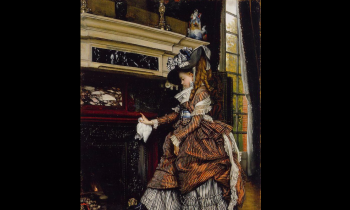 """The Fireplace,"" circa 1869, by James Jacques Joseph Tissot (1836–1902). (Courtesy of the Art Renewal Center)"