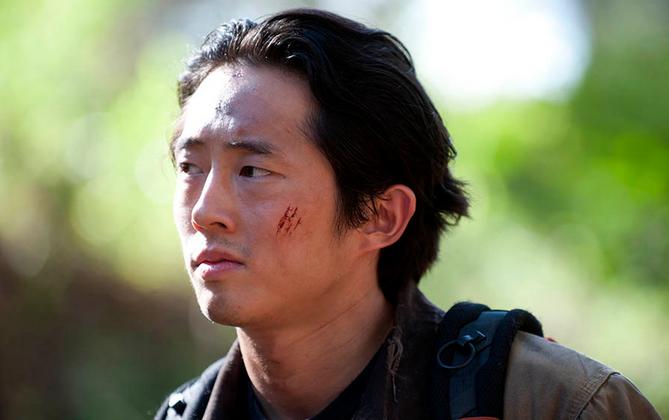 Glenn Rhee (Steven Yuen) in season 4, episode 15 of The Walking Dead. (Gene Page/AMC)