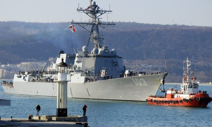 U.S. Navy destroyer USS Truxtun entering the Black Sea port of Varna in Bulgaria on March 13, 2014. (Anton Stoyanov/AFP/Getty Images)
