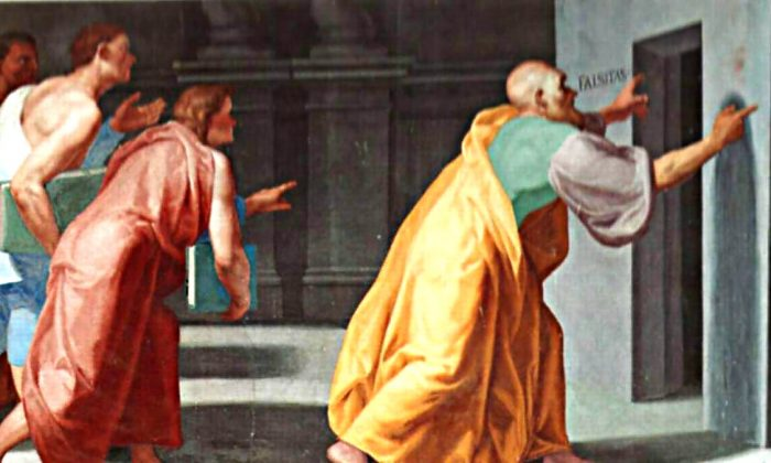 Zeno of Elea Shows Youths the Doors to Truth and False (Veritas et Falsitas). Fresco in the Library of El Escorial, Madrid. (Wikimedia Commons)