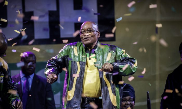 South Africa and African National Congress President Jacob Zuma addresses supporters during a rally celebrating the ANC election victory in Johannesburg, South Africa, on May 10, 2014. (Gianluigi Guercia/AFP/Getty Images)