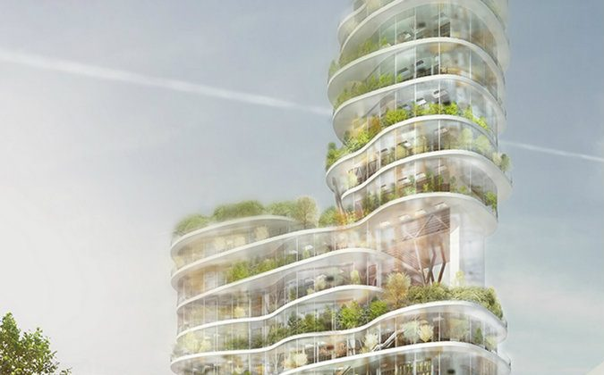The Green Living City. A stacked balance between an urban city and nature.