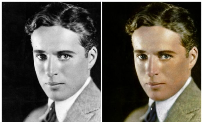 A portrait of a very young Charles Chaplin (1889–1977), on Feb. 26, 1929, before he began to make his world-famous films. The image on the left was colorized by Dana Keller. (Topical Press Agency/Getty Images)