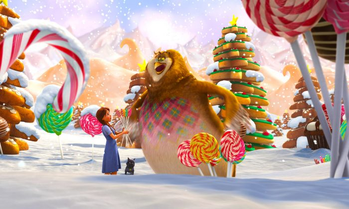 """Dorothy (Lea Michele) and Wiser the Owl (Oliver Platt) gorge on forbidden candy in """"Legends of Oz: Dorothy's Return."""" (Clarius Entertainment)"""