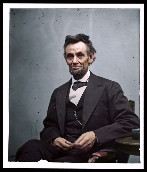 Abraham Lincoln, 1865, colorized by Dana Keller.
