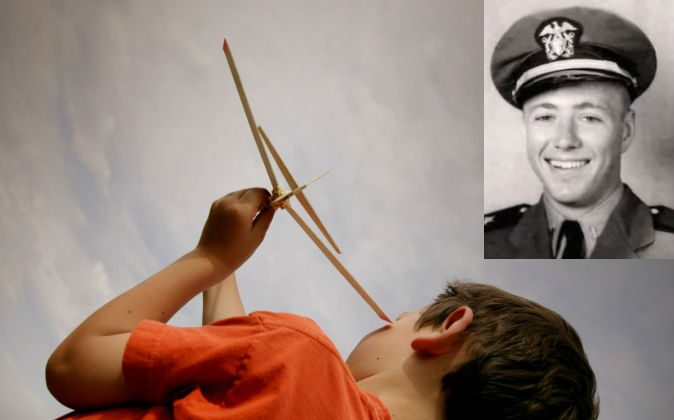 Right: James Huston Jr., a WWII pilot who died at the Battle for Iwo Jima (Screenshot/YouTube via Walter Semkiw). Left: A file photo of a boy playing with an airplane. From a very young age, James Leininger seemed to remember being Huston in a past life, and the details he was able to give are surprising. (Thinkstock)