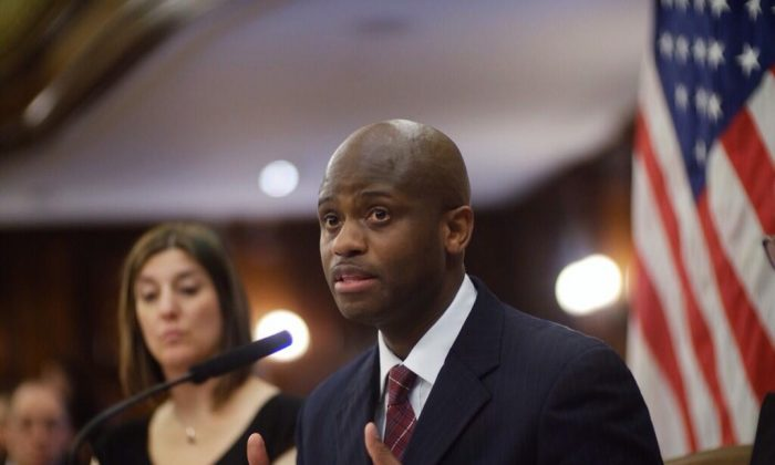 Department of Homeless Services Commissioner Gilbert Taylor testifies at a City Council hearing Monday. (William Alatriste/NYC Council)