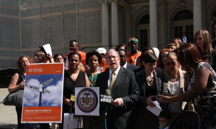 New York City Comptroller Scott Stringer speaking about his support for Right to Request legislation that will give employees more flexible work hours, on the steps of New York City Hall, June 16, 2014. (Tatiana Ren/Epoch Times)