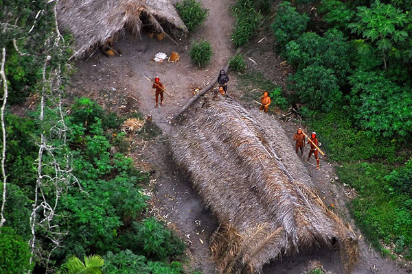 Aerial photo of uncontacted tribe in Brazil. (Courtesy of the Government of Brazil)