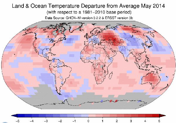 May 2014 temperature departures as compared to a baseline of 1981-2010. (Map courtesy of NOAA)