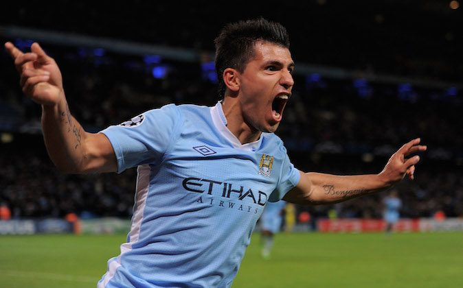 Sergio Aguero of Manchester City celebrates scoring his team's second goal during the UEFA Champions League Group A match between Manchester City and Villareal CF at the Etihad Stadium on October 18, 2011 in Manchester, England. (Michael Regan/Getty Images)