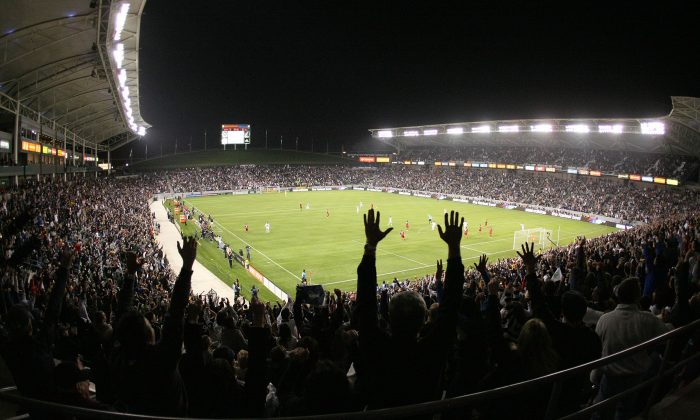 Fans react after Edson Buddle #14 of the Los Angeles Galaxy scored a goal in the second half against Real Salt Lake during the MLS match at The Home Depot Center on March 10, 2012 in Carson, California. Real Salt Lake defeated the Galaxy 3-1. (Victor Decolongon/Getty Images)