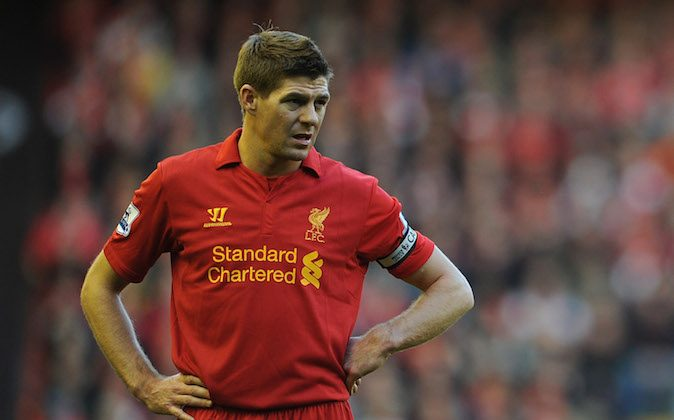Steven Gerrard of Liverpool looks on during the Barclays Premier League match between Liverpool and Wigan Athletic at Anfield on November 17, 2012 in Liverpool, England. (Chris Brunskill/Getty Images)