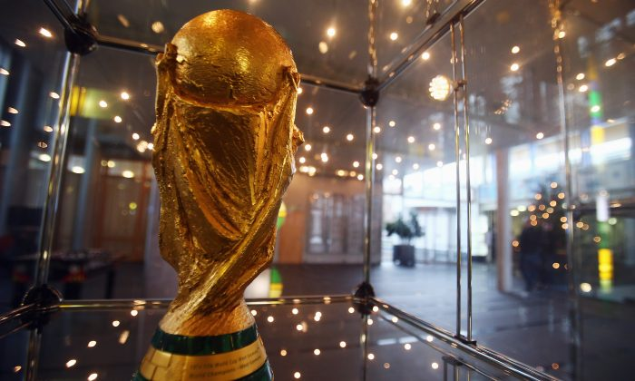 The World Cup trophy is seen in the lobby of the DFB headquarters during the DFB Federal Court trial against Hannover 96 and Dynamo Dresden on December 10, 2012 in Frankfurt am Main, Germany. (Alex Grimm/Bongarts/Getty Images)