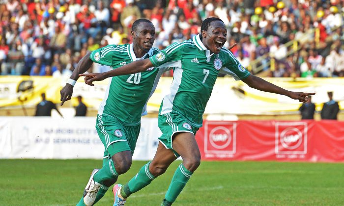 Nigeria's Ahmed Musa celebrates a goal in a file photo; he scored on June 25, 2014 against Argentina. (Getty)