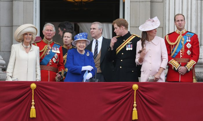 Camilla, Duchess of Cornwall, Prince Charles, Prince of Wales, Sir Timothy Laurence, Princess Anne, Princess Royal, Queen Elizabeth II, Prince Andrew, Duke of York, Prince Harry, Catherine, Duchess of Cambridge and Prince William, Duke of Cambridge stand on the balcony at Buckingham Palace during the annual Trooping the Colour Ceremony on June 15, 2013 in London, England. (Chris Jackson/Getty Images)