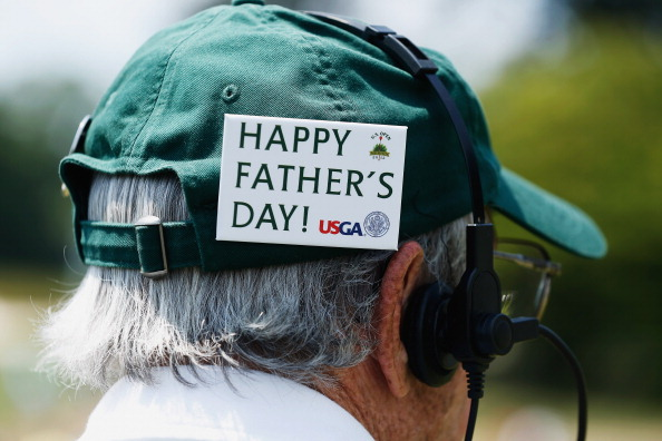 """A man wears a badge on his hat that says """"Happy Father's Day"""" during the final round of the 113th U.S. Open at Merion Golf Club on June 16, 2013 in Ardmore, Pennsylvania.  (Photo by Scott Halleran/Getty Images)"""