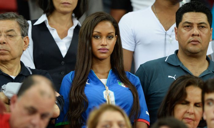 Mario Balotelli of Italy's girlfriend Fanny Neguesha looks on during the FIFA Confederations Cup Brazil 2013 Group A match between Italy and Japan at Arena Pernambuco on June 19, 2013 in Recife, Brazil. (Claudio Villa/Getty Images)