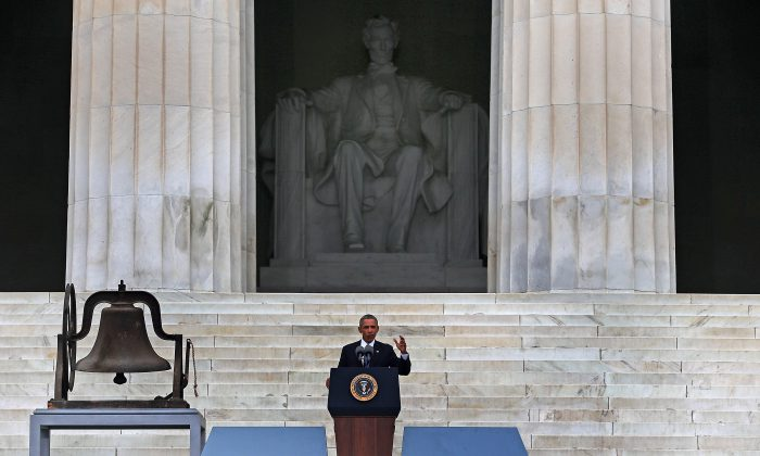 A file photo of President Barack Obama speaking on the steps of the Lincoln Memorial in Washington, D.C. (Mark Wilson/Getty Images)