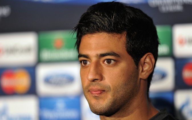 Real Sociedad's Mexican striker Carlos Vela attends a press conference at Old Trafford in Manchester on October 22, 2013. Real Sociedad take on Manchester United in the UEFA Champions League on October 23. (PAUL ELLIS/AFP/Getty Images)