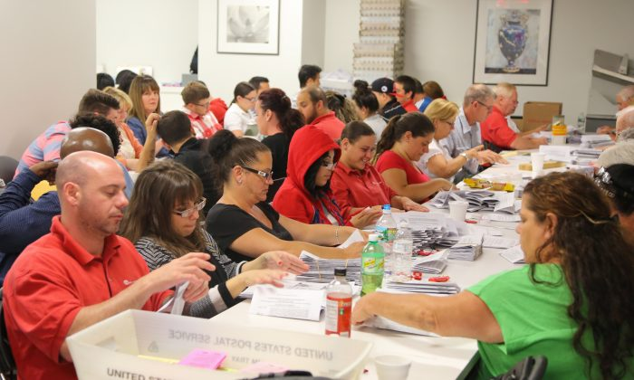 Around 60 ballot counters sort and scan votes on the United Federation of Teachers contract in a basement of a Lower Manhattan building on June 3, 2014. More than 90,000 votes were counted by the end of the day. (Benjamin Chasteen/Epoch Times)