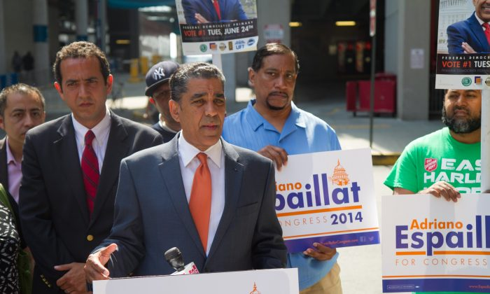 State Sen. Adriano Espaillat, who is running for Congress in 2014, speaks about his plans for economic reform at the East River Plaza, in Manhattan, on Wednesday, June 4, 2014. Espaillat promised to concentrate on immigration reform if elected as Congressman at a morning campaign event. (Jonathan Zhou/Epoch Times)