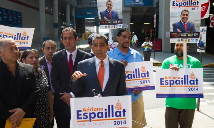 State Sen. Adriano Espaillat, who is running for Congress in 2014, speaks about his campaign at the East River Plaza, in Manhattan, on June 4, 2014. (Jonathan Zhou/Epoch Times)